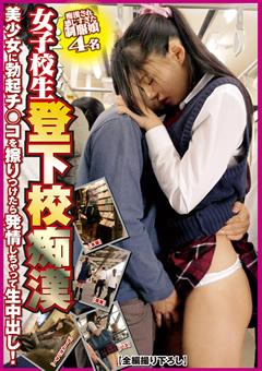 電車で女子高生の下半身を触る外人